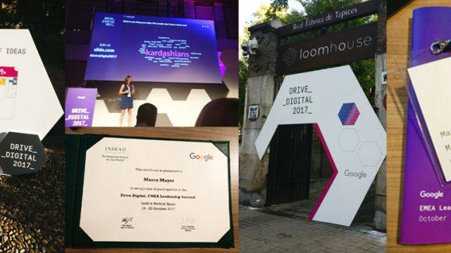Einige Bilder des Google Drive Digital Summits in Madrid, unter anderem der Eingang zum Veranstaltungsort und der Teilnehmerurkunde für unseren Kollegen Marco.
