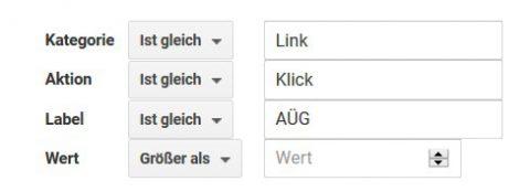Abbildung der Zielvorhabendetails für Events in Google Analytics, um die Downloads deines PDFs auszuwerten.