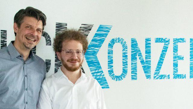 Klickkonzepts CEO Fabian Ulitzka neben Labeliums Michael Beresin