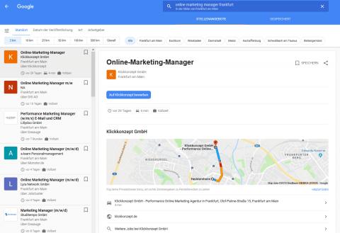 Detaillierte Stellenbeschreibung in der Google for Jobs Oberfläche