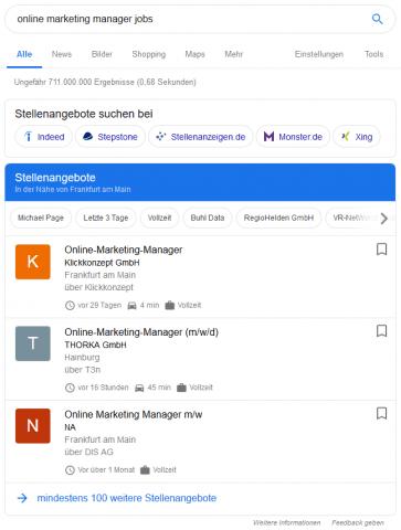 Ausspielung der Stellenangebote in den SERPs über Google Jobs