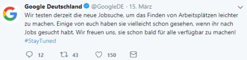 Ankündigung des Starts von Google for Jobs auf Twitter