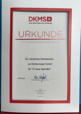 Urkunde der DKMS für besonderes Engagement von Klickkonzept.