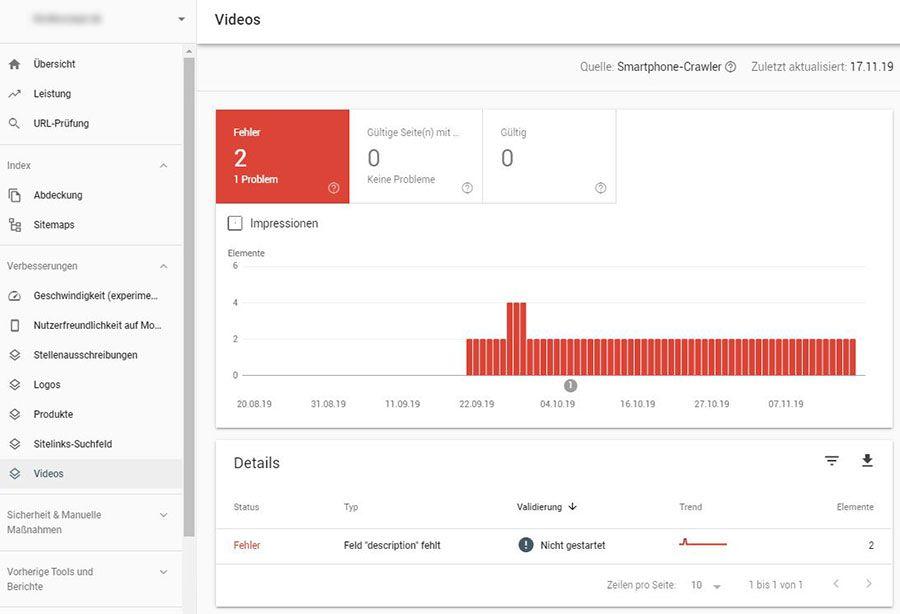 Beispiel eines Video Enhancement Reports aus der Google Search Console