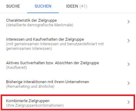 Kombinierte Zielgruppen können jetzt in Google Ads hinterlegt werden.