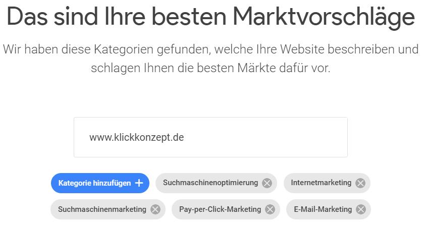Der erste Schritt des Google Market Finders