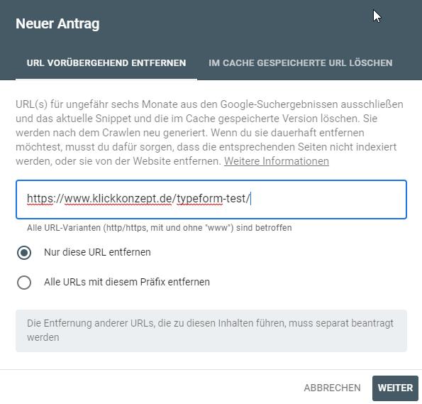 URLs aus Google entfernen