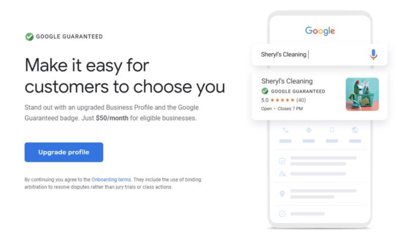 Screenshot des Angebotes der Google Guaranteed Dienstleistung