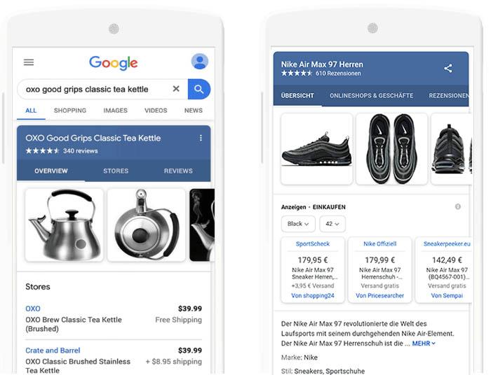 Vergleich der beiden Suchergebnisse. Rechts der Ist Stand, links die Neuerung