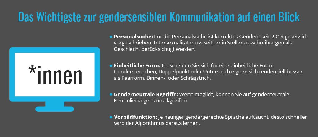 Das Wichtigste zur gendersensiblen Kommunikation auf einen Blick